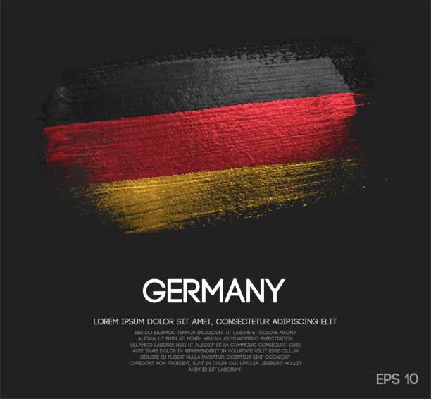 flaga niemcy wykonana z brokatu sparkle brush paint vector - niemcy stock illustrations