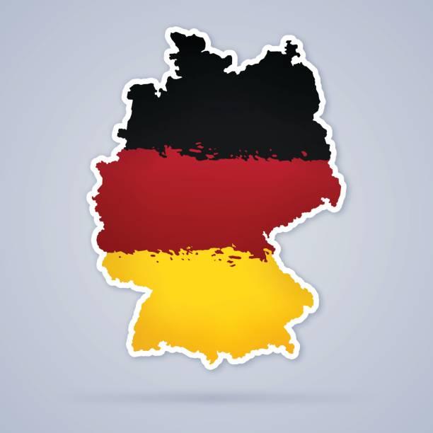 ilustraciones, imágenes clip art, dibujos animados e iconos de stock de mapa bandera alemania - bandera alemana