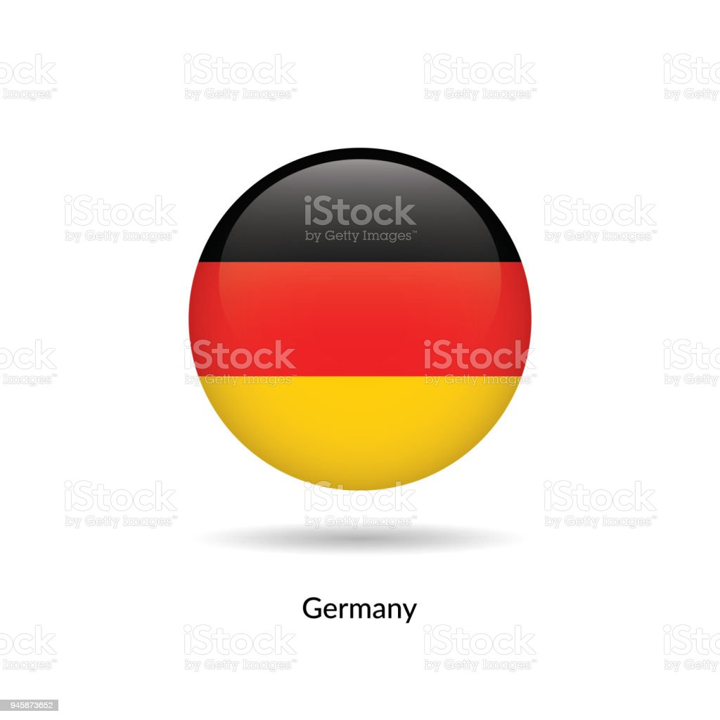 Germany flag - round glossy vector art illustration