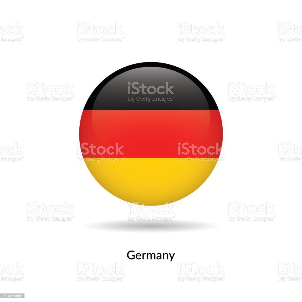 Bandera de Alemania - brillante redondo - ilustración de arte vectorial