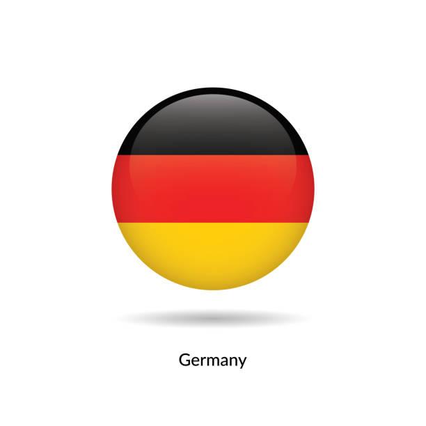 ilustraciones, imágenes clip art, dibujos animados e iconos de stock de bandera de alemania - brillante redondo - bandera alemana