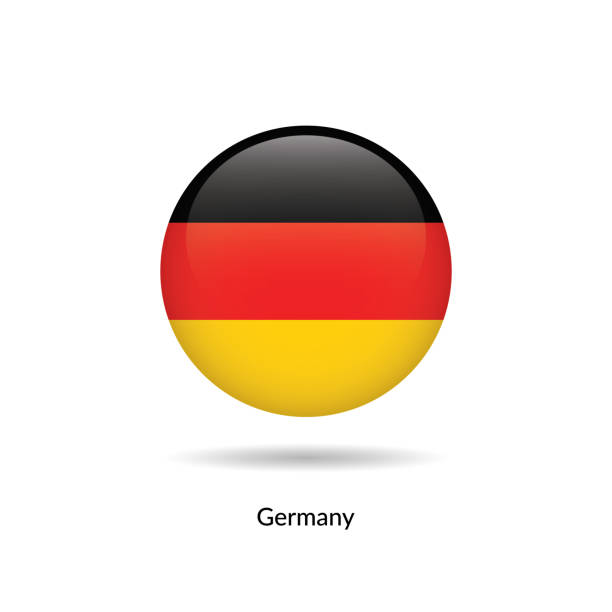 Germany flag - round glossy vector art illustration