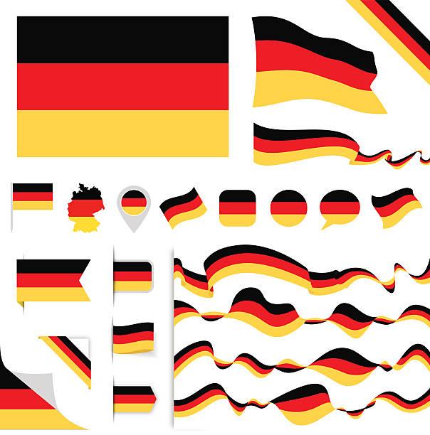 ilustraciones, imágenes clip art, dibujos animados e iconos de stock de germany flag set - bandera alemana