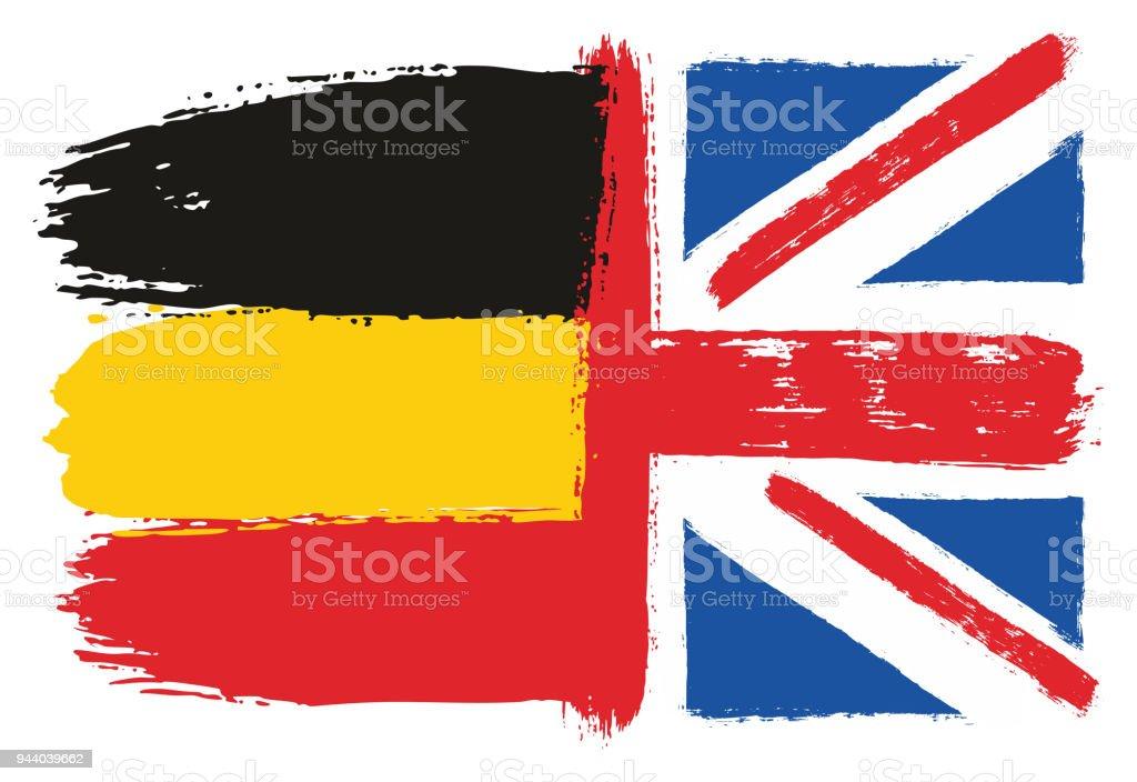 Almanya Bayrağı Ve Ingiltere Bayrağı Vektör El Yuvarlak Fırça Ile