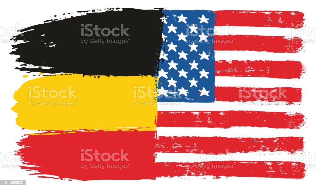 Almanya Bayrağı Ve Amerika Birleşik Devletleri Bayrağı Vektör El