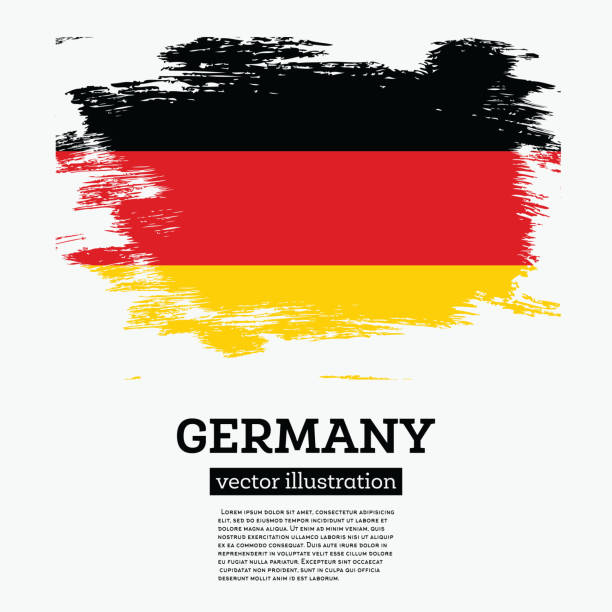 ilustraciones, imágenes clip art, dibujos animados e iconos de stock de bandera de alemania con trazos de pincel. - bandera alemana