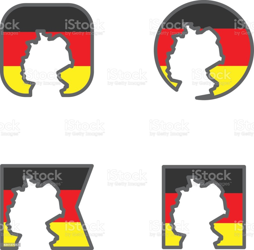 Germany Flag With Country Map Shape Cut Vector Stock Vector Art - Germany map shape