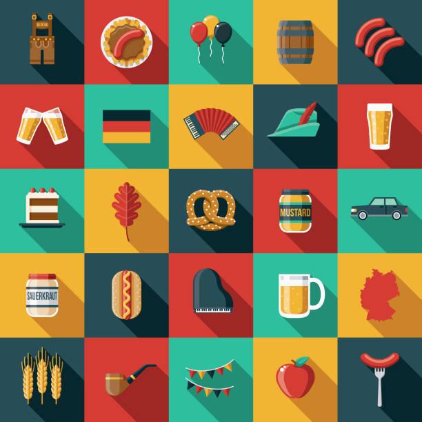 deutschland-flaches design-icon-set - sauerkraut stock-grafiken, -clipart, -cartoons und -symbole