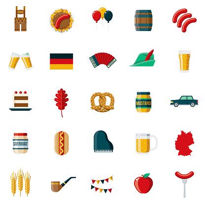 Germany Flat Design Icon Set