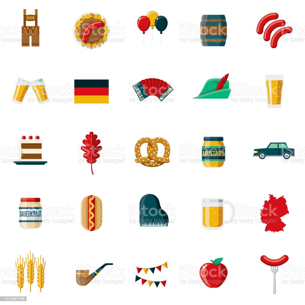 Germany Flat Design Icon Set vector art illustration
