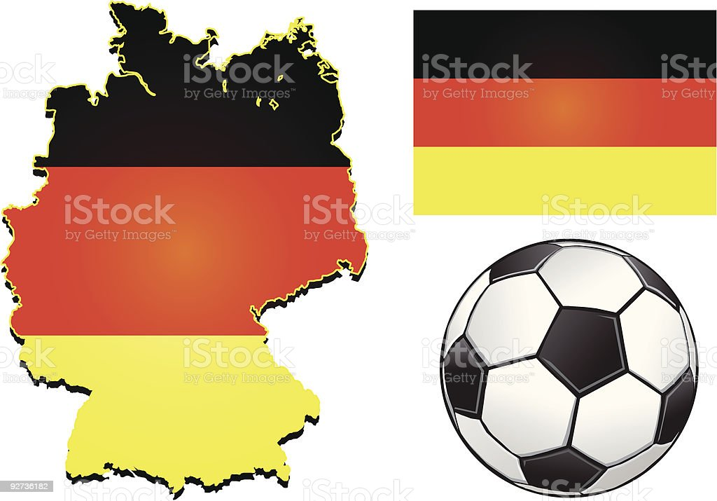 Germany Football Vector of a map, flag of Germany, along with a football.  Black Color stock vector