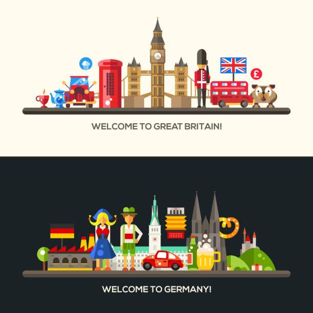 Alemania, Gran Gran Bretaña viaje conjunto de banners con famosos francés símbolos - ilustración de arte vectorial