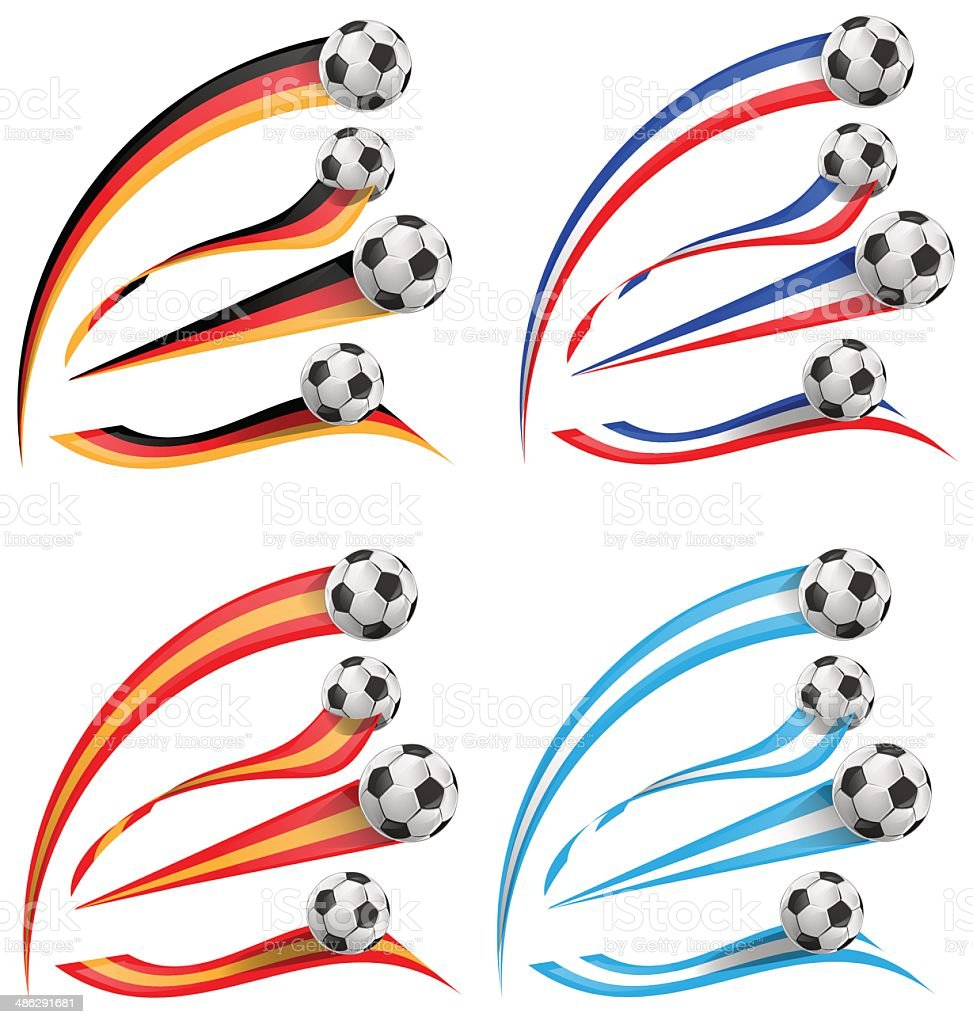 germany, greece, france, spain flag set with soccer ball vector art illustration