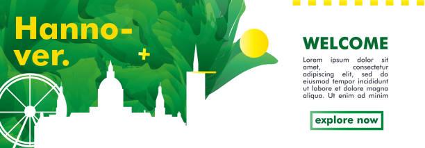 deutschland hannover skyline stadt gradient vektor banner - hannover stock-grafiken, -clipart, -cartoons und -symbole