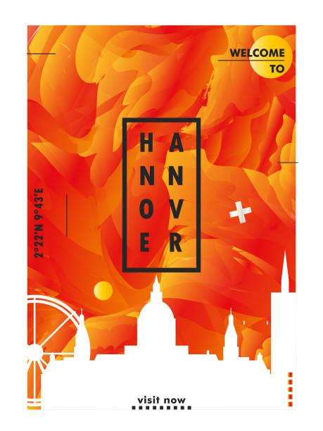 deutschland hannover-skyline-city-gradient vektor-poster - hannover stock-grafiken, -clipart, -cartoons und -symbole