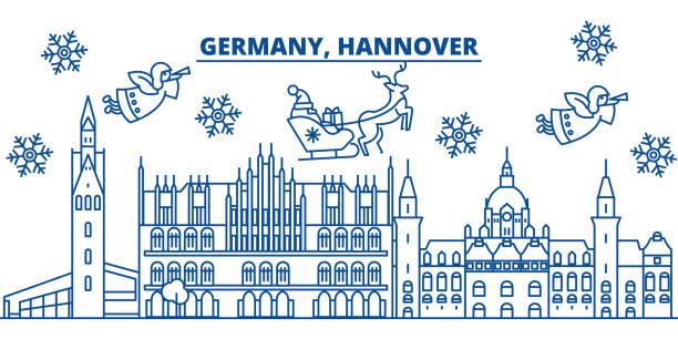 deutschland, hannover winter skyline der stadt. frohe weihnachten, frohes neues banner mit santa claus.winter gruß leitungskarte verziert. flach, umriss vektor. lineare weihnachten schnee abbildung - hannover stock-grafiken, -clipart, -cartoons und -symbole