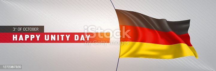 Germany happy unity day greeting card, banner vector illustration. German national holiday 3rd of October design element with 3D waving flag on flagpole