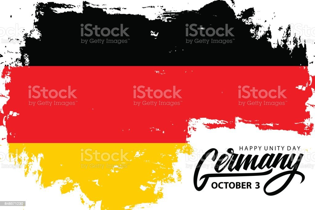 Germany happy unity day october 3 greeting banner with german germany happy unity day october 3 greeting banner with german national flag brush stroke background m4hsunfo