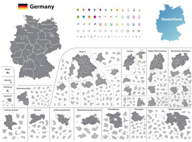 deutschland hoch detaillierte karte (gefärbt durch staaten und verwaltungsbezirke) mit unterteilungen. alle schichten detachabel und beschriftet. vektor - köln stock-grafiken, -clipart, -cartoons und -symbole