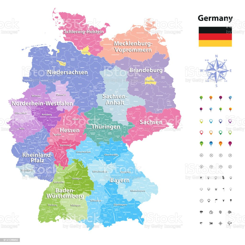 Detailed Map Of Germany.Germany High Detailed Map With Subdivisions All Layers Detachabel