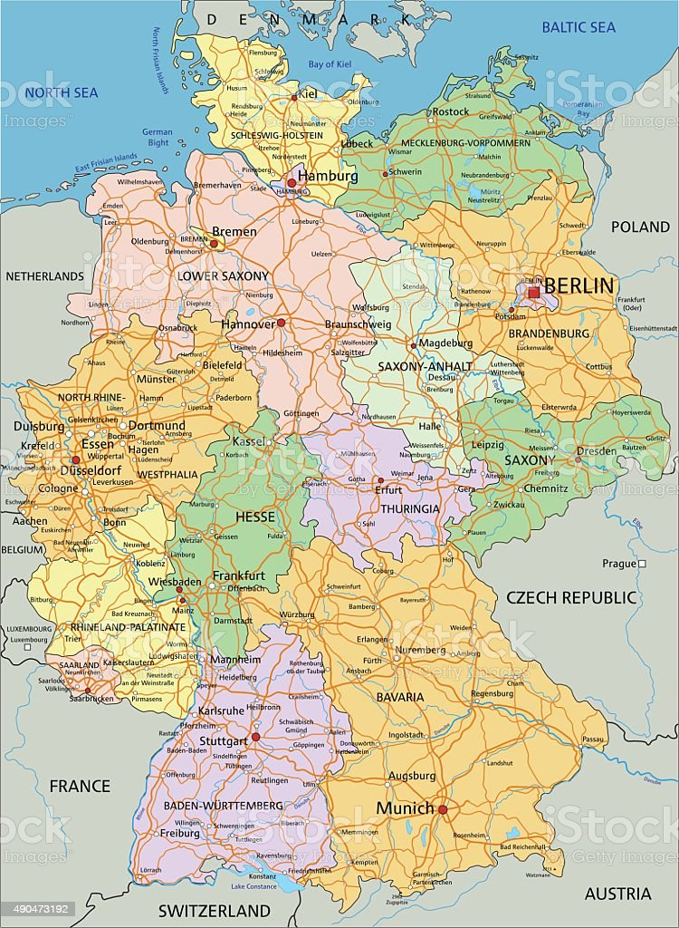 Germany Highly Detailed Editable Political Map Stock Vector Art - Germany map detailed
