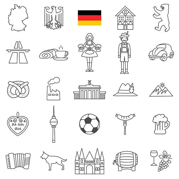 Germany icon set - ilustración de arte vectorial