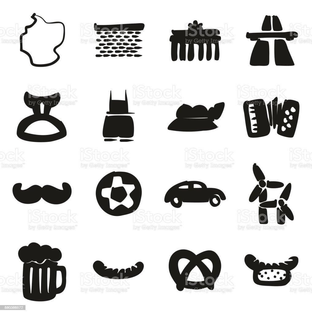 Deutschland-Symbole Freihand zu füllen – Vektorgrafik