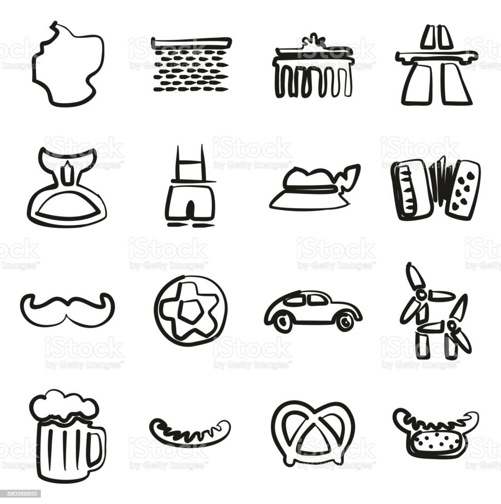 Deutschland-Symbole Freihand – Vektorgrafik