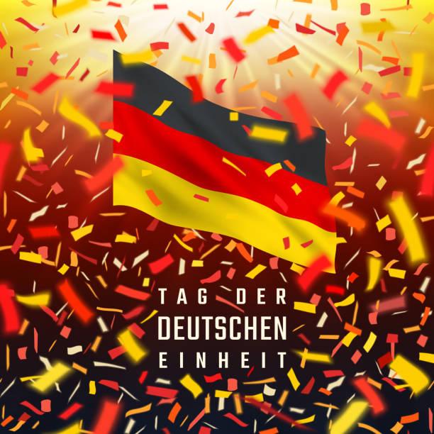ilustrações de stock, clip art, desenhos animados e ícones de germany independence day card with flag, confetti - berlin wall