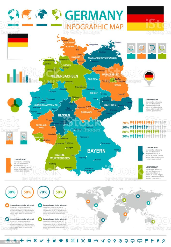 Germany - infographic map and flag - illustration vector art illustration