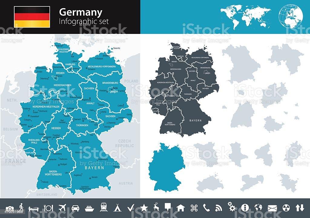 Alemania-infografía mapa-Ilustración - ilustración de arte vectorial