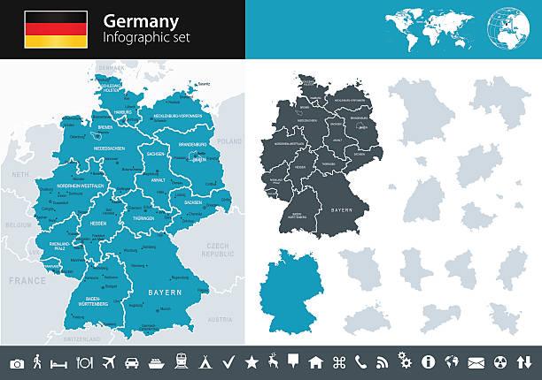 deutschland – infografik karte-illustration - hannover stock-grafiken, -clipart, -cartoons und -symbole
