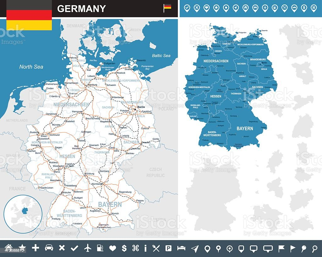 Germany infographic map - illustration vector art illustration
