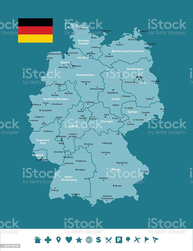 Germany Infographic Map vector art illustration