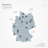 Germany map with borders, cities, capital and administrative divisions. Infographic vector map. Editable layers clearly labeled.