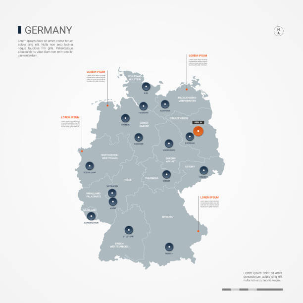 niemcy infografika mapa wektor ilustracja. - niemcy stock illustrations