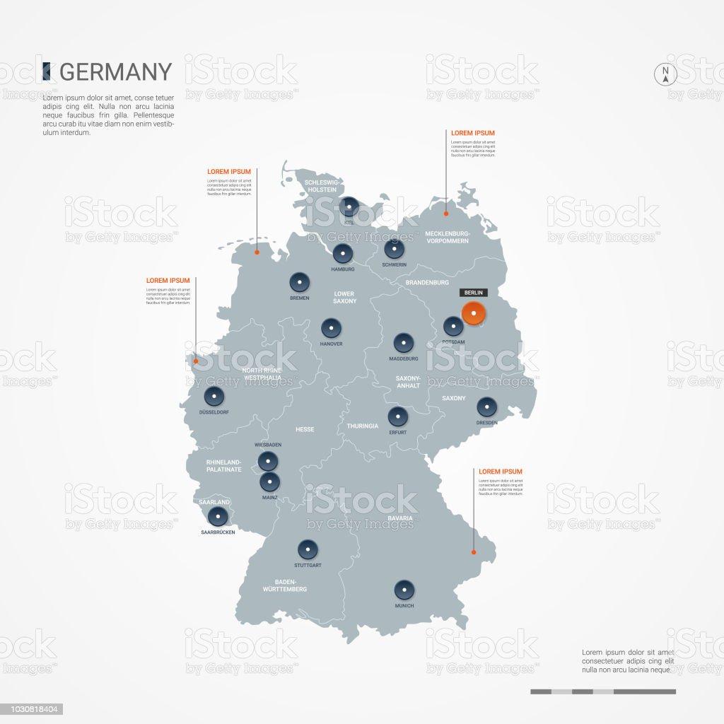 Illustration vectorielle d'Allemagne infographie carte. - Illustration vectorielle