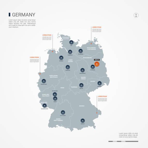 독일 infographic 지도 벡터 일러스트입니다. - 독일 stock illustrations