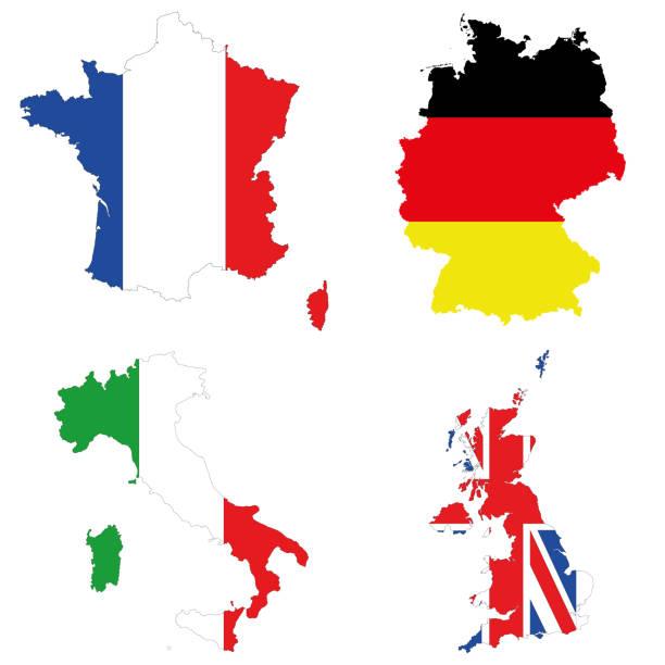 Germany, Italy, France, UK. vector art illustration
