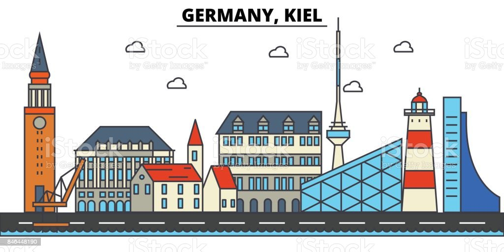 Germany, Kiel. City skyline architecture, buildings, streets, silhouette, landscape, panorama, landmarks. Editable strokes. Flat design line vector illustration concept. Isolated icons set vector art illustration