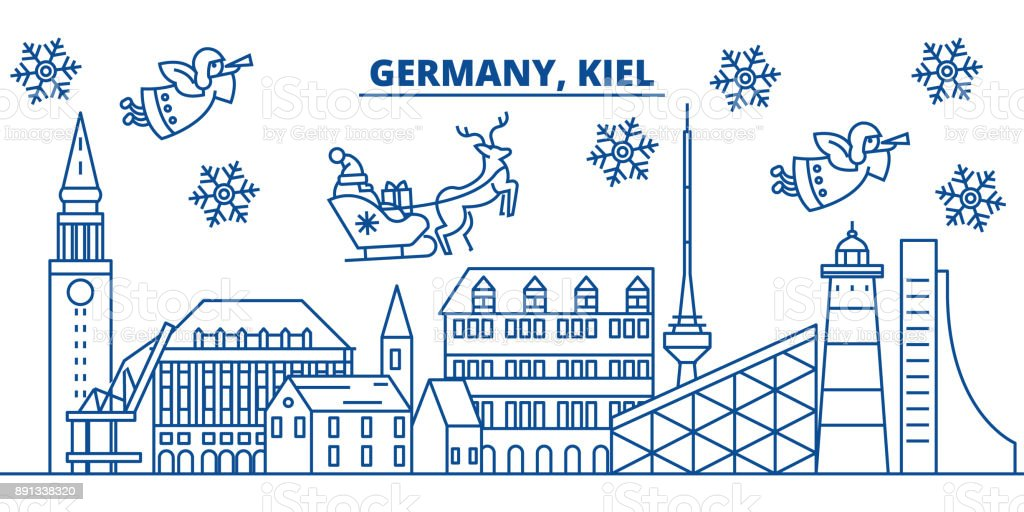 Germany, Kiel winter city skyline. Merry Christmas, Happy New Year decorated banner with Santa Claus.Winter greeting line card.Flat, outline vector.Linear christmas snow illustration vector art illustration