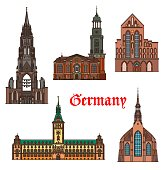 Germany, Hamburg and Lubeck architecture buildings, vector travel landmarks. German Hamburg rathaus city hall, medieval churches of St Catherine, Saint Michael and Nicholas, Schleswig Holstein Germany
