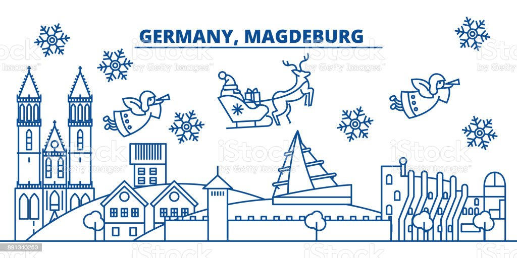 germany magdeburg winter city skyline merry christmas happy new year decorated banner with