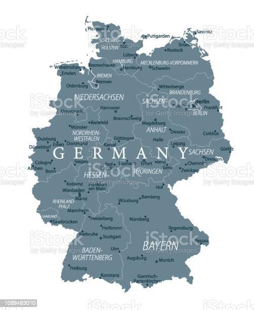 Dortmund Germania Cartina.04 Germania Mappa 2019 Grigio Immagini Vettoriali Stock E Altre Immagini Di Acqua Istock