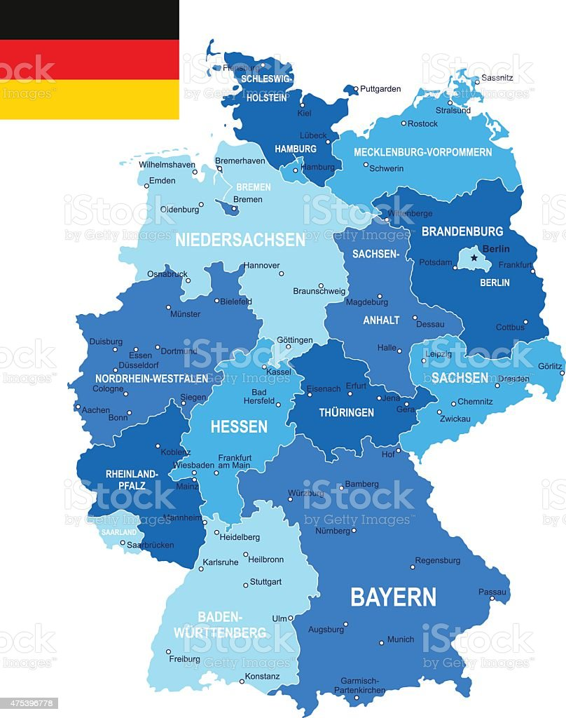 Germany map and flag - illustration vector art illustration