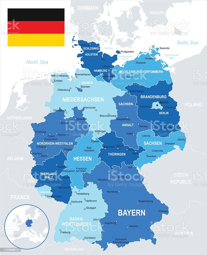 Germany - map and flag - illustration vector art illustration