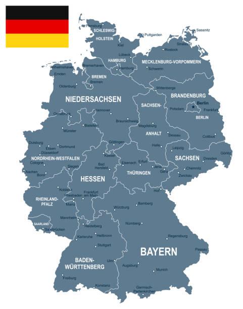 niemcy - ilustracja mapy i flagi - niemcy stock illustrations