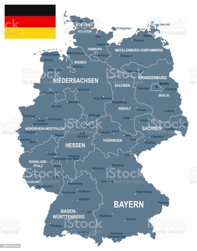 Alemanha - mapa e ilustração da bandeira - ilustração de arte em vetor