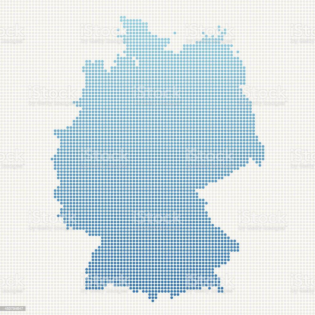 Germany Map Blue Dot Pattern vector art illustration