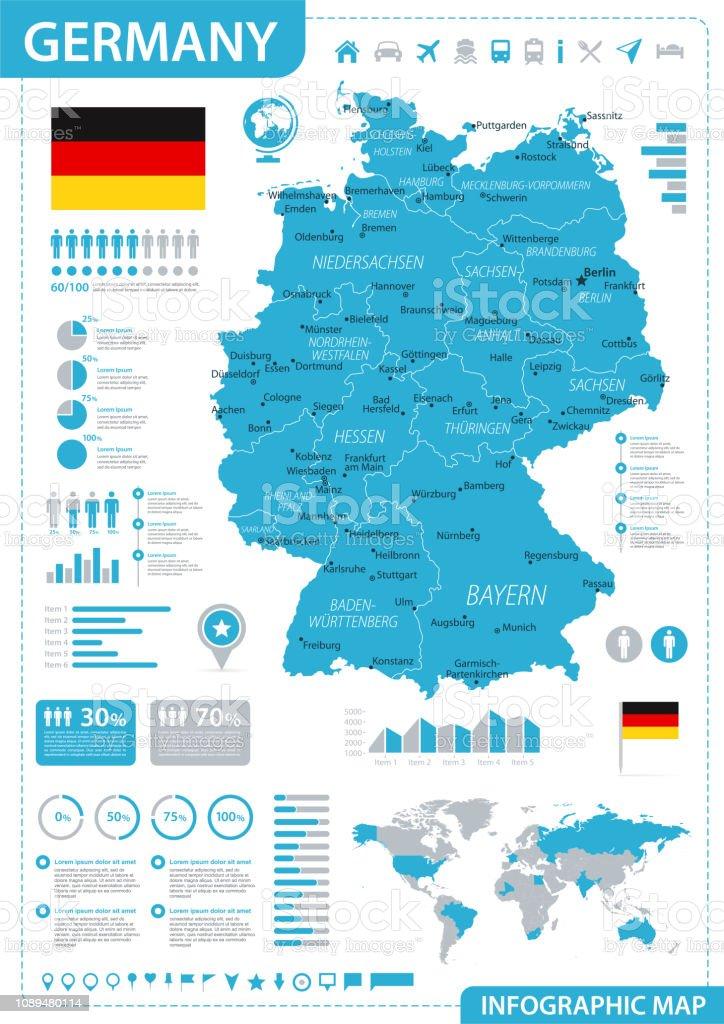 Carte Allemagne Infographie Bleu Hautement Détaillées